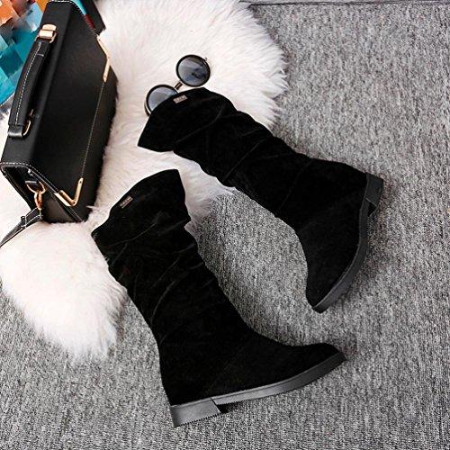 MML Autumn Boots Women Sweet Boot Stylish Flat Flock Shoes Snow Boots Black pfCfB94z