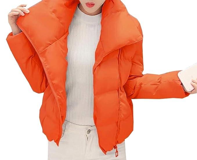 f8da82259f2 jiejiegao Womens Wet Look Cropped Jackets Coat Ladies Padded Bomber Bubble  Puffer Short Jacket 1 XL
