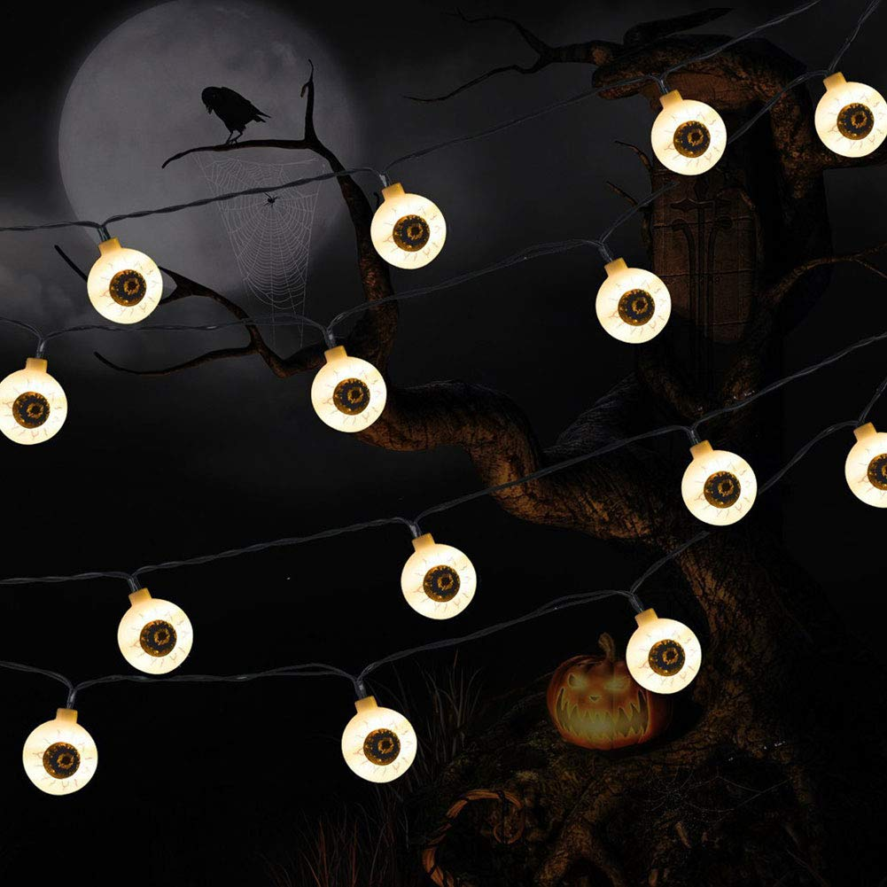 Halloween Decoration String Lights, PUAO Battery Powered Eyeball LED Fairy String Lights 3.94ft 10 LEDs Rope Lights for Outdoor Indoor Christmas Home Party Garden (Warm White, 3.94ft 10LED)