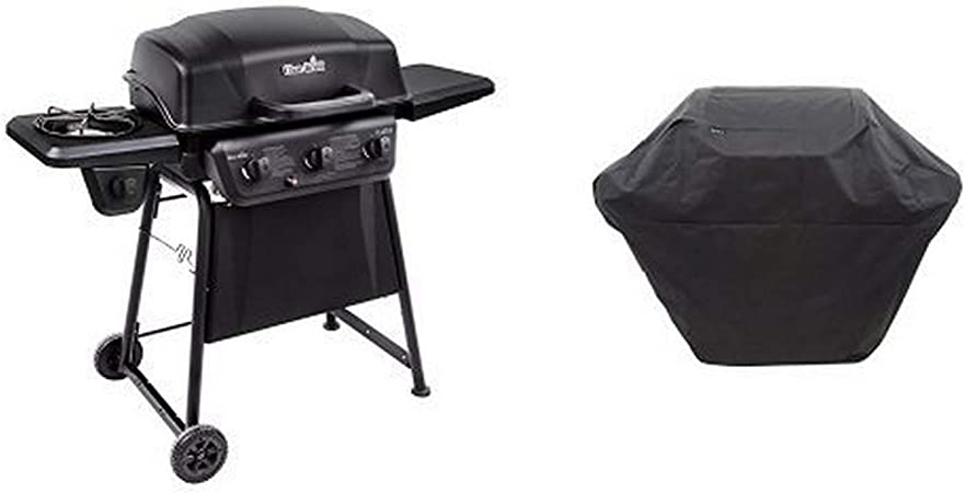 Amazon Com Char Broil Classic 360 3 Burner Gas Grill With Side Burner With Char Broil 3 4 Burner Large Rip Stop Grill Cover Garden Outdoor