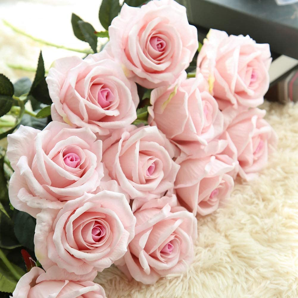 JOEJISN Artificial Silk Rose Flowers 12pcs Real Looking Fake Big Roses Velvet Roses Bridal Bouquet Wedding Home Kitchen Decorations or Gift (Pink Heart)