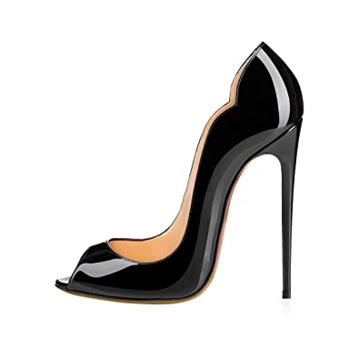58c07b509 yBeauty Women's Peep Toe Pumps Stiletto High Heels Big Size Sandals Slip On Shoes  Patent Leather