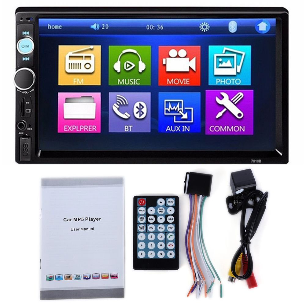 Toogoo 7010B 2 Din Car Video Player DVD 7 inch LCD Touch Screen Bluetooth FM Radio MP5 Player with 720P Camera