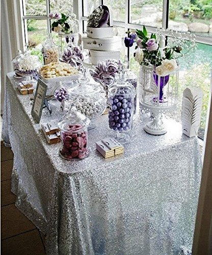 ShinyBeauty Sequin Tablecloth Silver-60x102-Inch Rectangle Sparkly Fabric Tablecloth Sequin Rectangular Table Cloth Wedding Party Cake Sweetheart Table