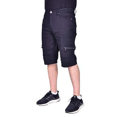 d700028e Waimea Mens Slim Fit Moto Denim Shorts | Skinny Stretch Biker Jean Short  with Zippers Black
