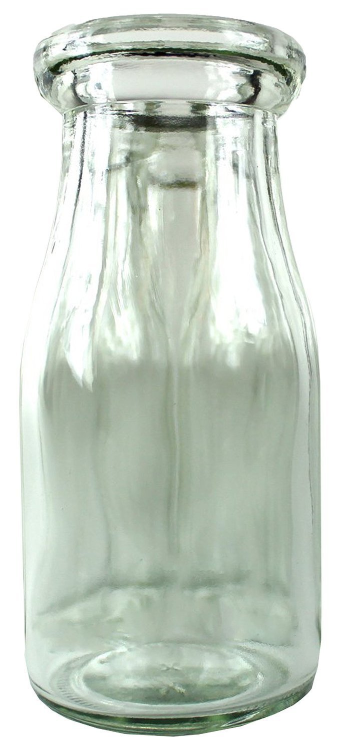 Old Fashioned Heavy Glass Half Pint Milk Bottle, Decanter Cream Server. With Lid (1)