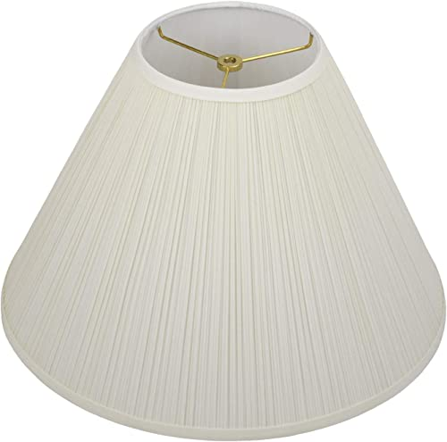 FenchelShades.com Lampshade 7 Top Diameter x 18 Bottom Diameter x 13 Slant Height with Washer Spider Attachment for Lamps with a Harp Pleated Mushroom Cream