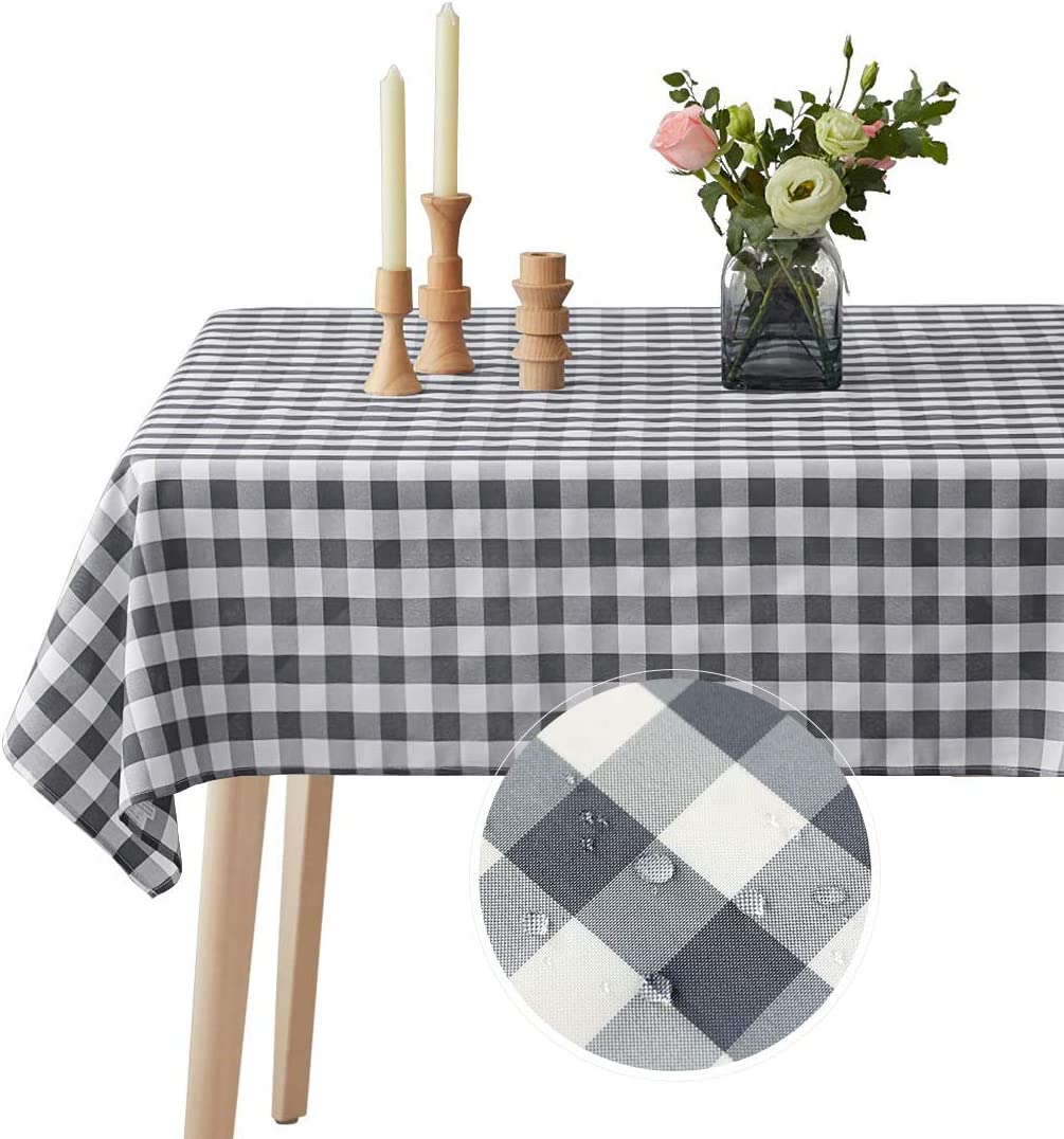 VEEYOO Spillproof Checkered Tablecloth Polyester Stain Resistant Wrinkle Free and Waterproof Table Cloth for Outdoor Picnic,Party, Home Dinner (Rectangle Tablecloth, White & Grey, 60x102 inch)