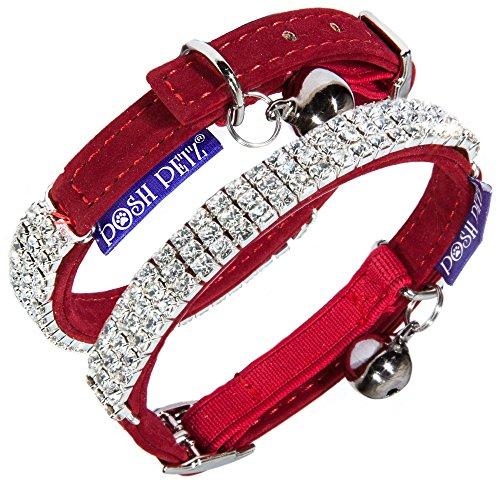Posh Petz Luxury Soft Velvet Rhinestone Adjustable Cat Safety Collar with Bell Made (Red)