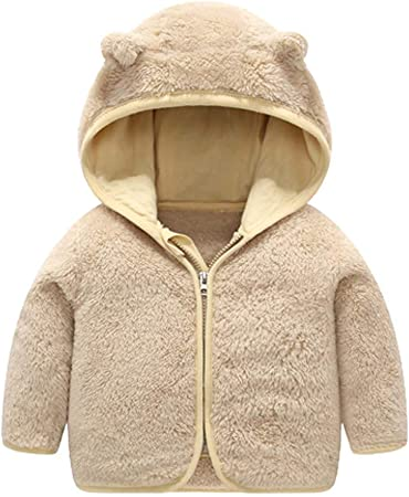 Toddler Boys Girls Winter Solid Coat Bear Ears Hooded Thick Warm Outwear Jacket