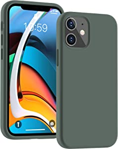 Cucell Compatible with iPhone 12 Mini case 5.4 inch(2020),Liquid Silicone Gel Rubber Full Body Protection Cover Shockproof Durable Drop Proof Shell-Pine Green