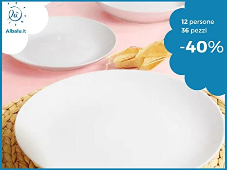 Servizio piatti per 12 persone da 36 pezzi moderni da tavola bianchi ...