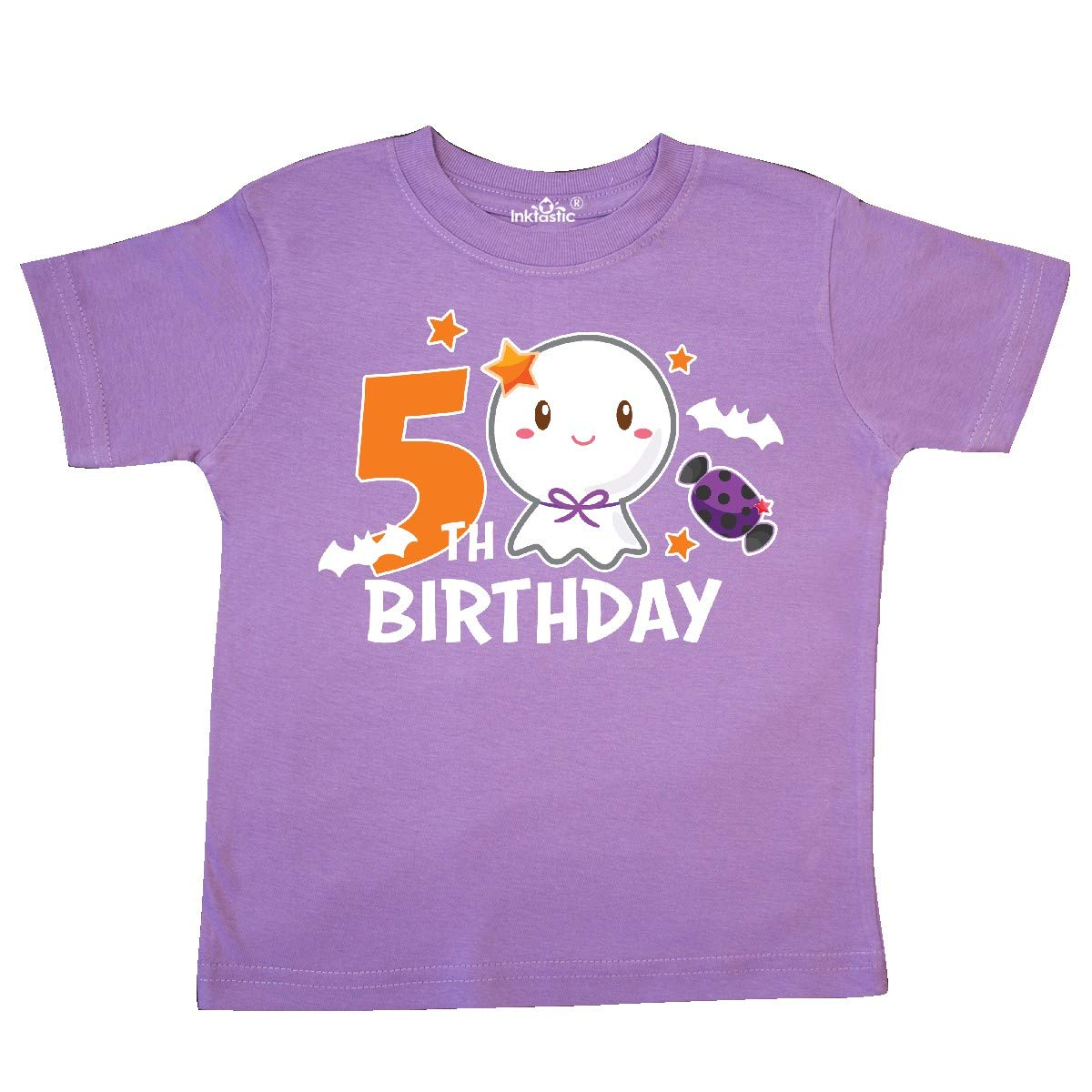 inktastic 5th Birthday with Cute Ghost and Bat Toddler T-Shirt