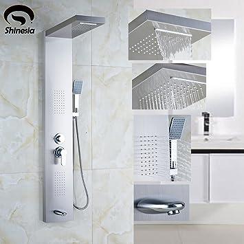 Cabezal de ducha redondo de acero inoxidable, columna de ducha ...