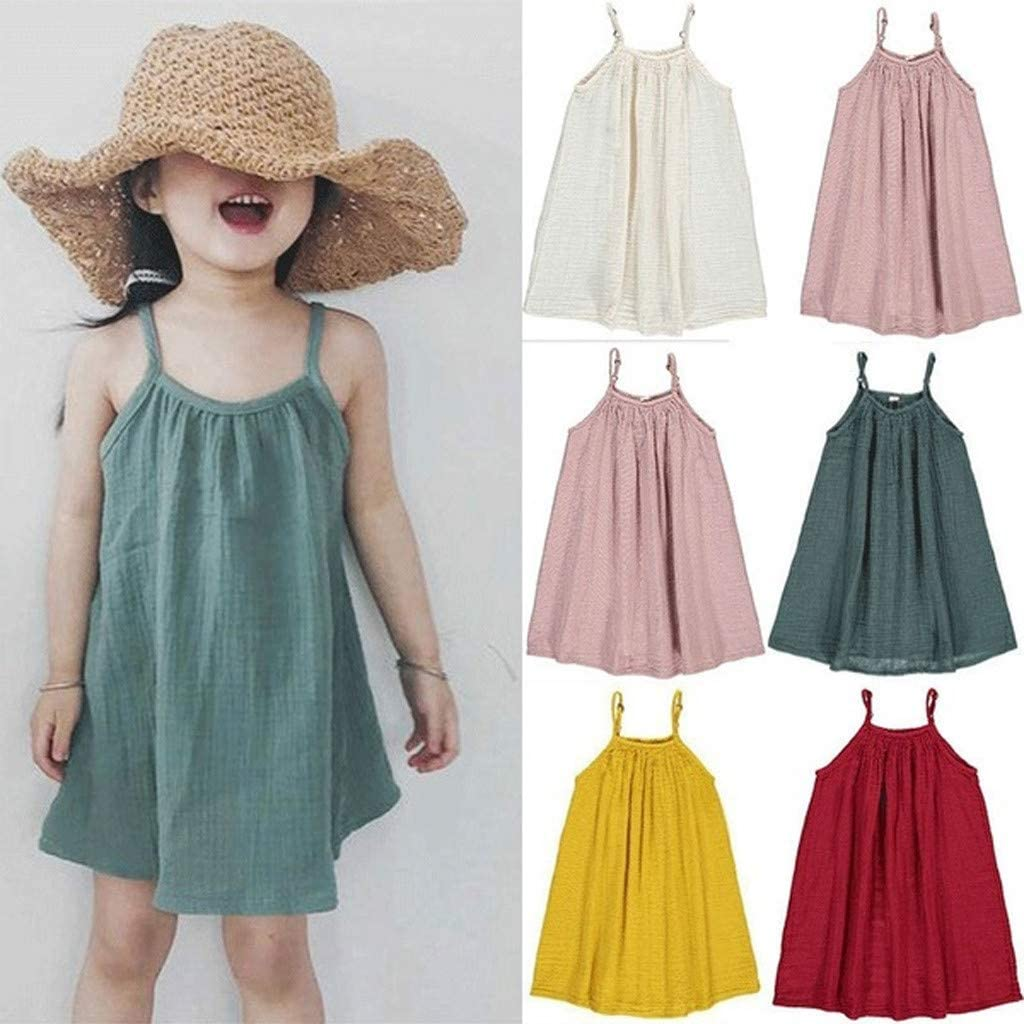 Girls Off Shoulder Casual Dress Summer Spaghetti Strap Princess Style Tea Length Dresses