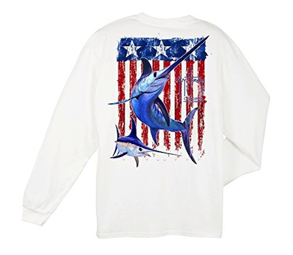 Guy Harvey Swordfish Flag Long Sleeve Shirt - White-Large
