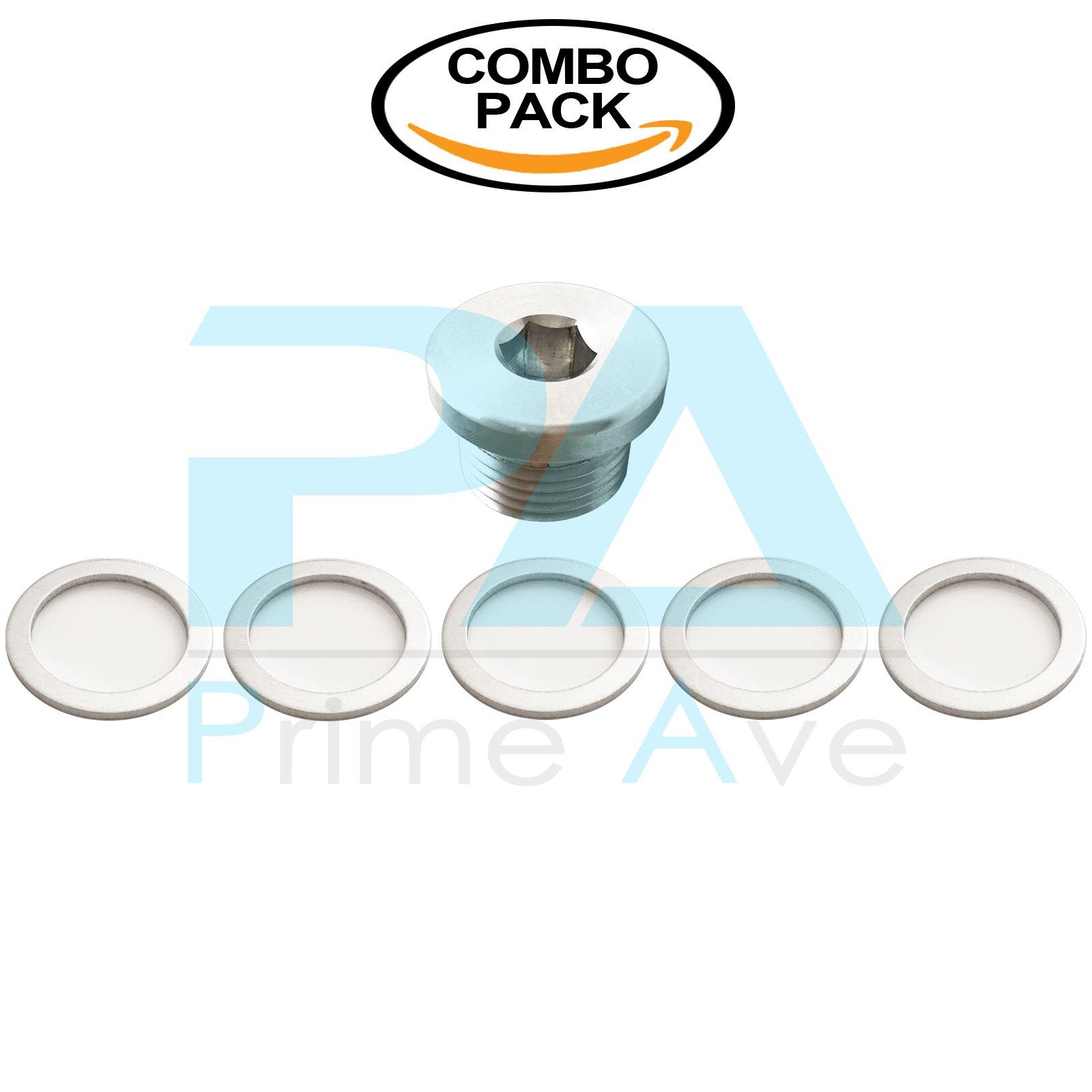PA (1) OEM Aluminum Oil Drain Plug + (5) Crush Aluminum Gasket Washers For Porsche
