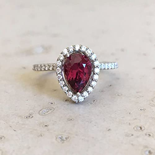 Amazon Com Halo Garnet Engagement Ring Rose Gold Garnet Engagement Ring Pear Shape Garnet Engagement Ring Diamond Garnet Promise Ring Handmade