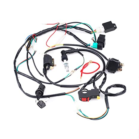Amazon.com: Full Wiring Loom Harness Kick Electric Start Engine 50cc on electric scooter battery, 36 volt electric bike battery, honda scooter battery, honda atv 12v battery, power scooter battery,