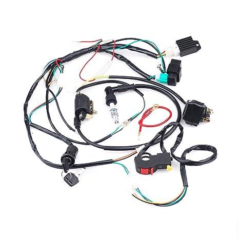 amazon com full wiring loom harness kick electric start engine 50cc rh amazon com