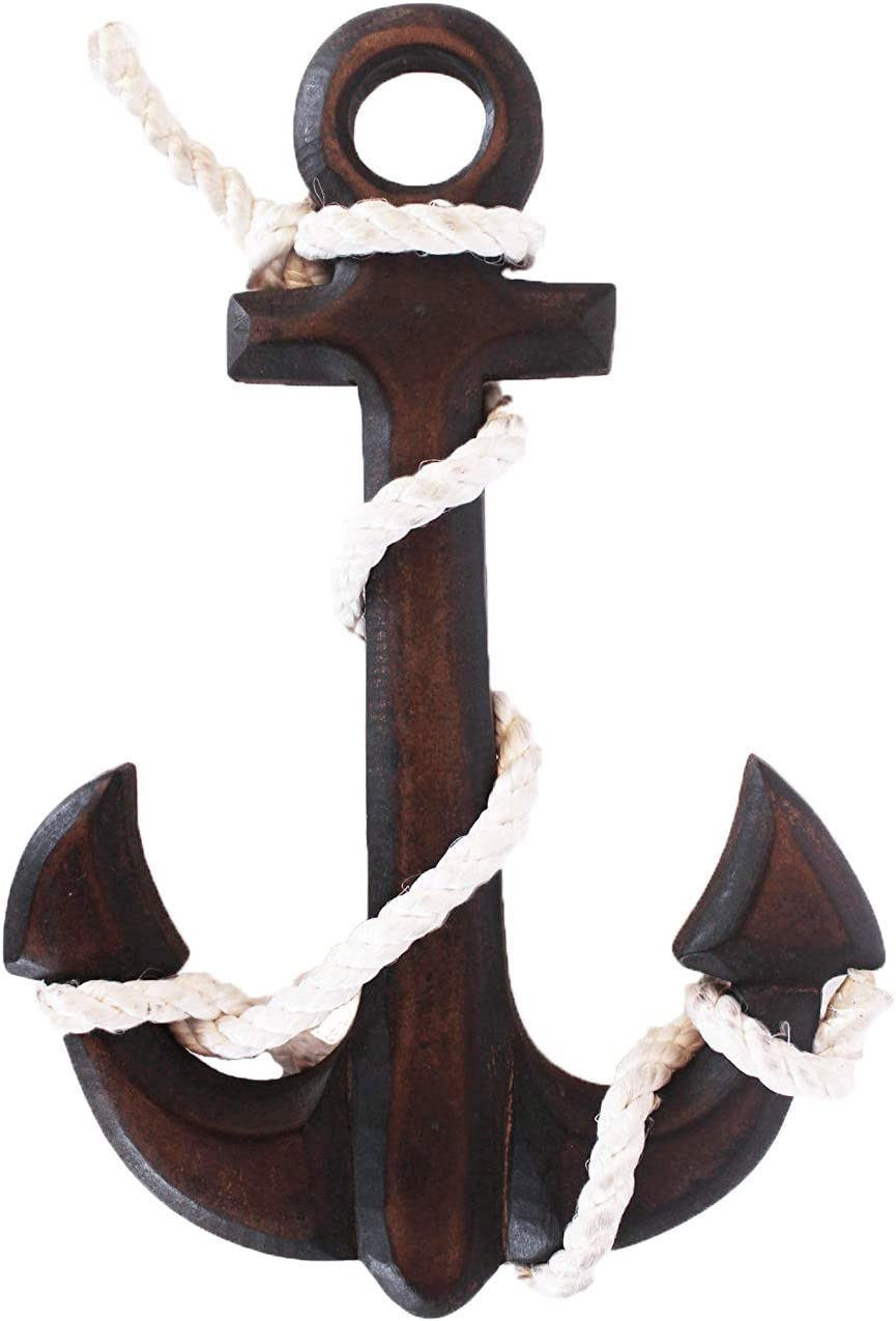 The StoreKing Wooden Boat Anchor with Crossbar, Steering Wheel, Wall Decor Home Decor (Dark Brown)