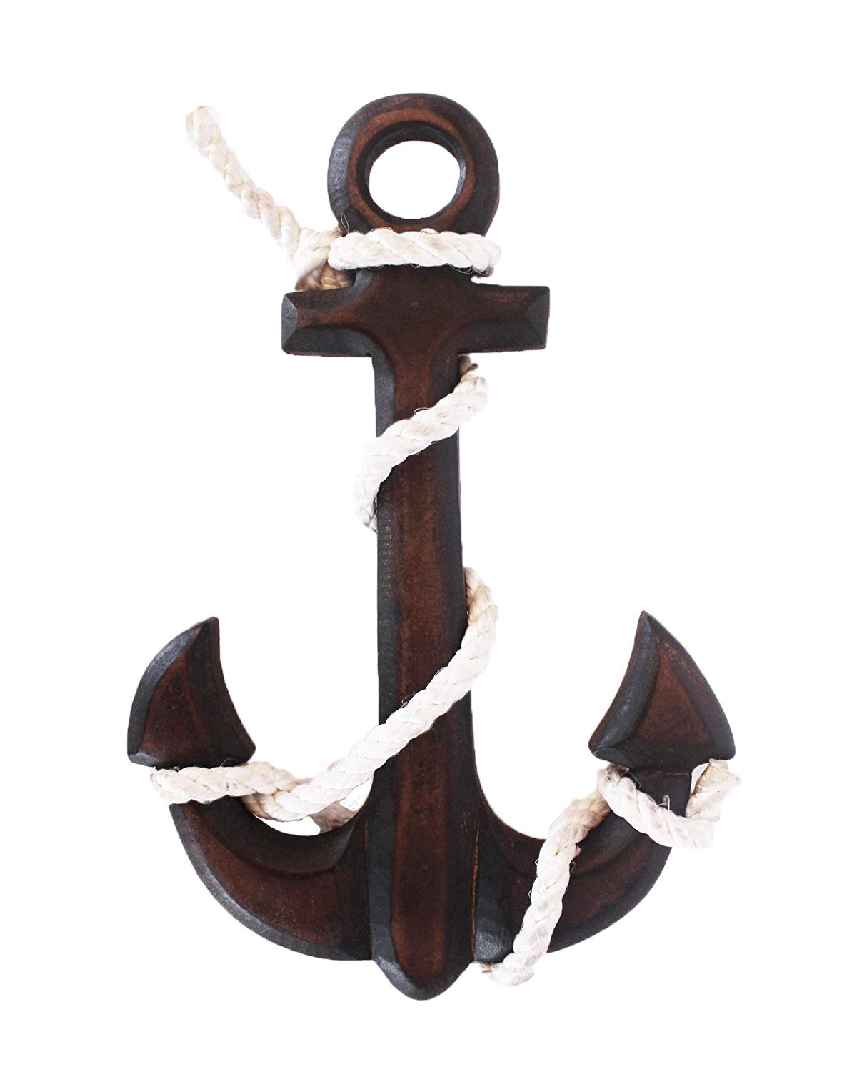 The StoreKing Wooden Boat Anchor with Crossbar, Steering Wheel, Wall Décor Home Décor