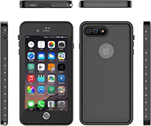 iPhone 8 Plus & 7 Plus Waterproof Case with Built-in Screen Protector Full Body Sealed for Outdoor Underwater Rugged Cover Protective Armor Dust Shockproof Phone Defender (Black-Translucent Cover)