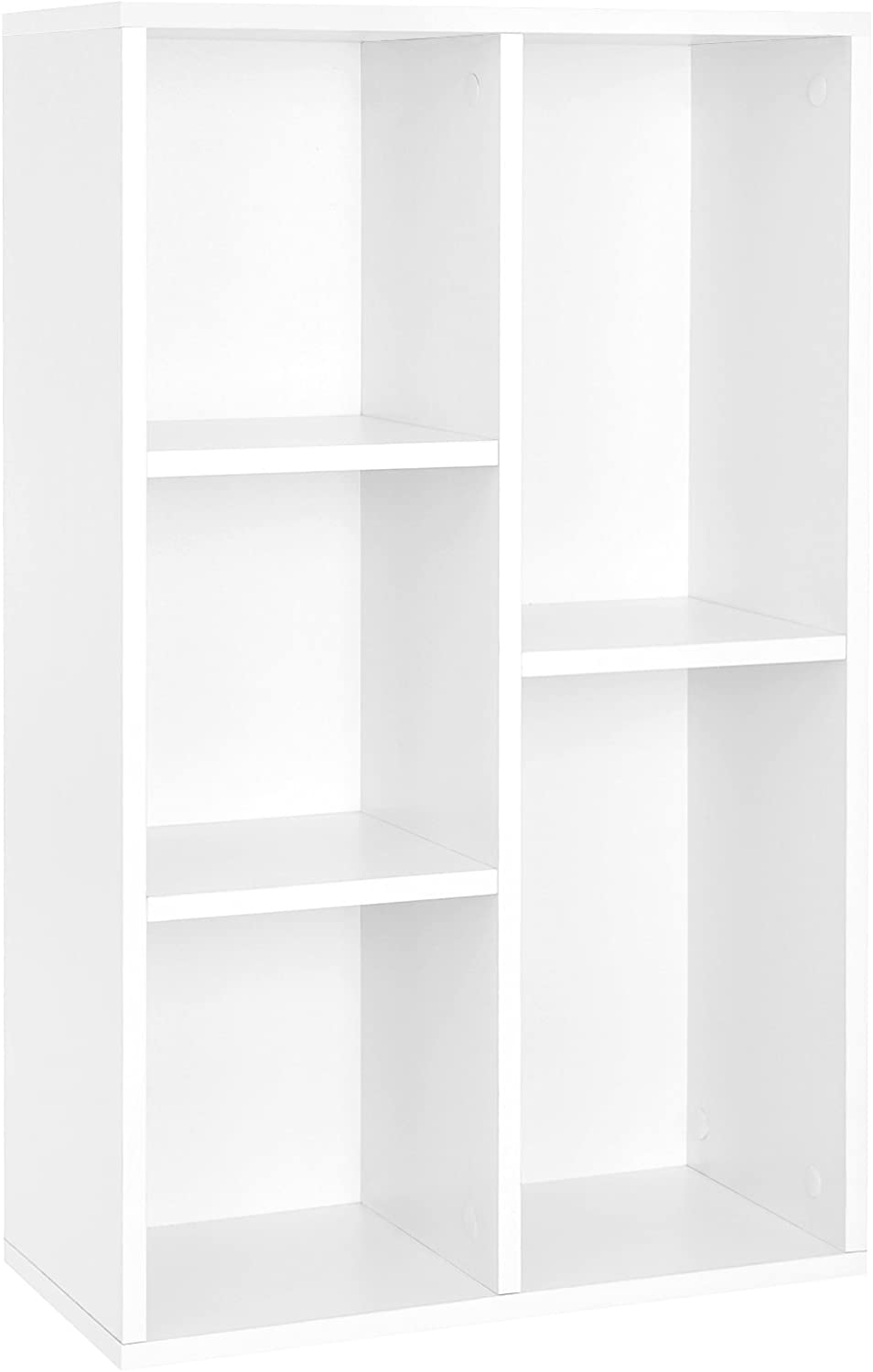 VASAGLE Wooden 5-grid Bookcase, File Organiser and Floor Standing Bookshelf Rack for Living Room, Bedroom, Nursery and Office, Holds Books and DVDs, 50 x 24 x 80 cm (W x D x H), White LBC25WT