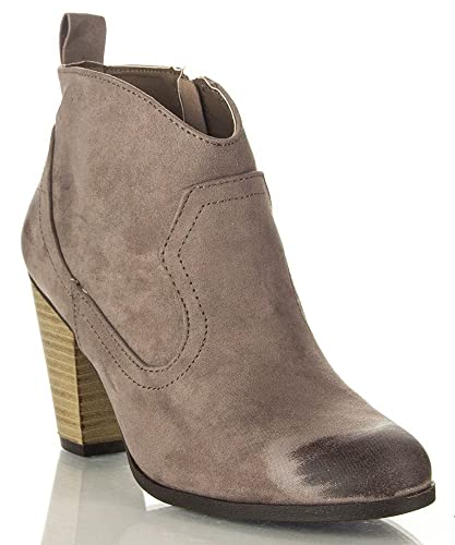 Nixon-02 Vegan Distressed Oil Finish Suede Stacked Heel Ankle Booties