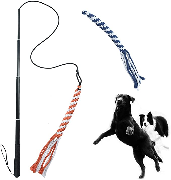 Extendable Dog Teaser Wand with 2 Cotton Rope Dog Toy Outdoor Playing for Pulling Chasing Chewing Interactive Dog Tug Toy Training VILLCASE Flirt Pole Toy Teasing
