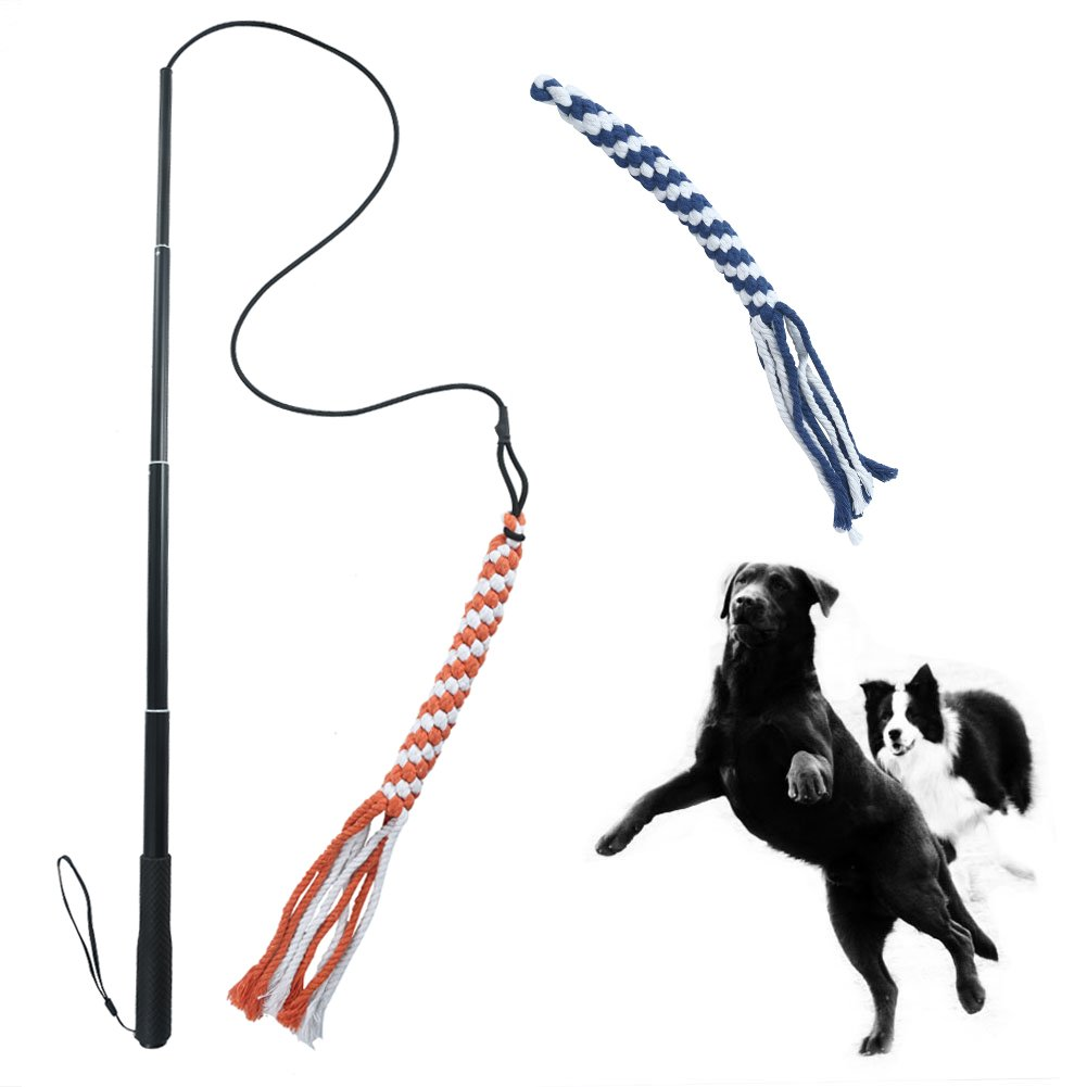 ASOCEA Interactive Dog Extendable Teaser Wand with 2 Rope Chew Tail Toy for Fun Obedience Training & Exercise