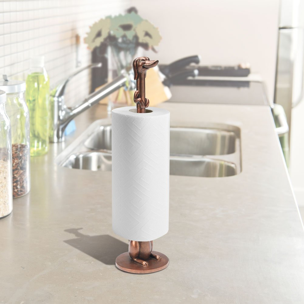 Copper-Look Finish WHATONEARTH Dachshund Toilet Paper or Paper Towel Holder