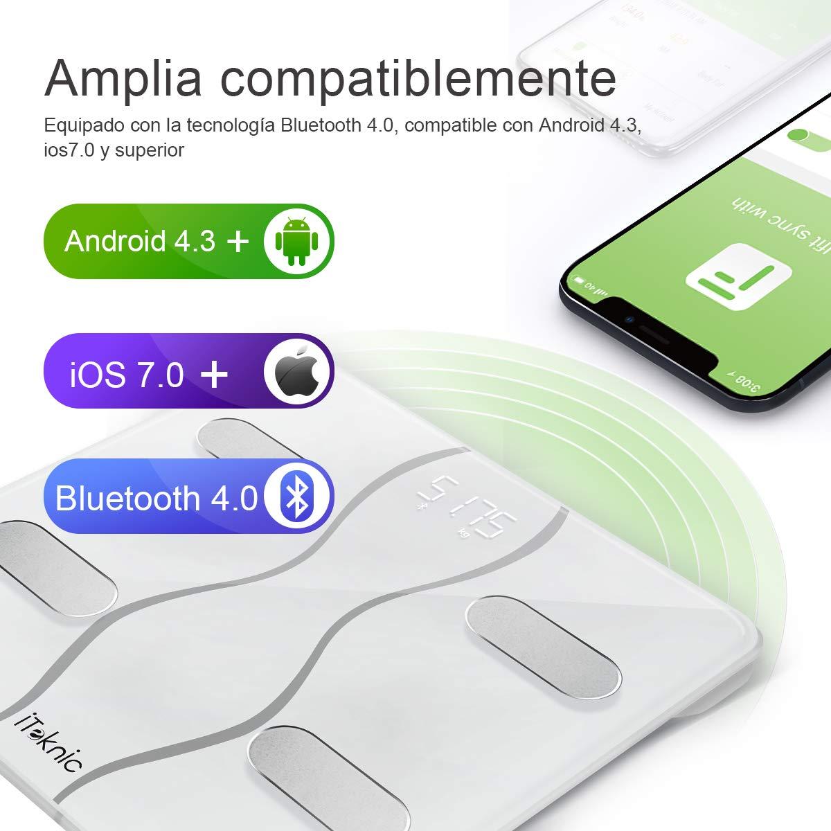 iTeknic Báscula Inteligente Multifunciones con Bluetooth Puede Conectar con Smartphone Compatible la Sistema de Andriod 4.3 y IOS 8 o Superior con Tecnología BIA Detectar y Analizar los 13 Datos de su Cuerpo (Agua,Caloría,Peso,Grasa,BMR y e