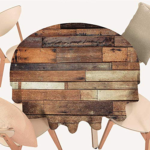 Easy-Care Cloth Tablecloth Floor Planks Print Grungy Look Farm House Country Style Walnut Oak Grain Image for Home, Party, Wedding, 51 INCH Round