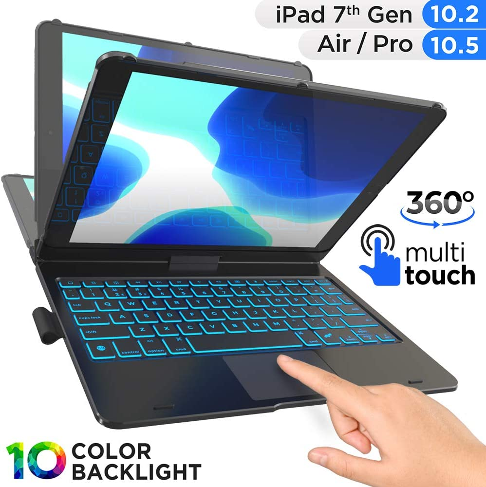 360 Rotatable iPad Air 10.5 2019,iPad Pro 10.5 2017-Black ipad 7th Generation case with Keyboard with Backlit 10 Colors New iPad 10.2 Keyboard Case with Touchpad Compatible with iPad 10.2 2019