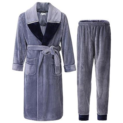 NIGHTSLEEP Albornoz de los hombres + Pantalones Franela Otoño   Invierno  Pijamas sueltos Pantalones 54a7f7ac78d1