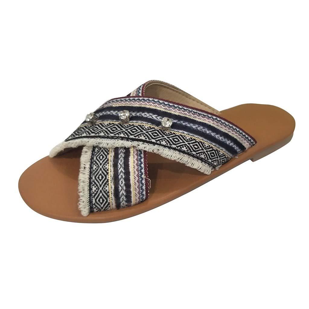 2019 New!! Women Fashion Summer Peal Rhinestone Sandals Thick Bottom High Wedges Platform Open Toe Roman Pumps Shoes (Black, 5 M US)
