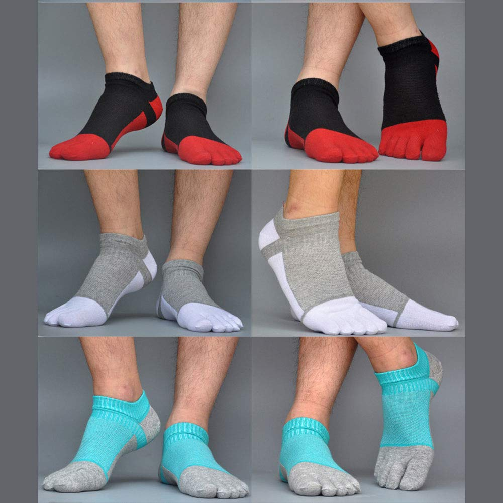 AIEOE 6 Paar M/änner F/ünf Finger Zehensocken Baumwolle Sneaker Socken Kurz Atmungsaktiv Sportsocken Laufsocken