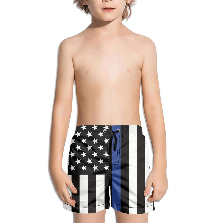 KKSDAAT Boys Quick Dry Swim Trunks Police Thin Blue Line Flag Beach Board Shorts