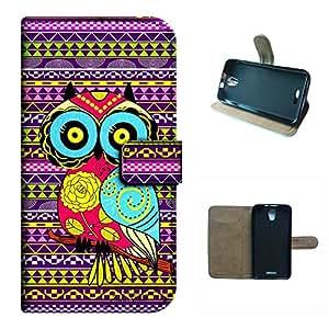 Studio C 5.0 D830U case, SoloShow(R) BLU Studio C 5.0 D830U 5.0 inch case Deluxe High Quality PU Leather Wallet Flip case, Aztec Andes cartoon owl Pattern (owl)