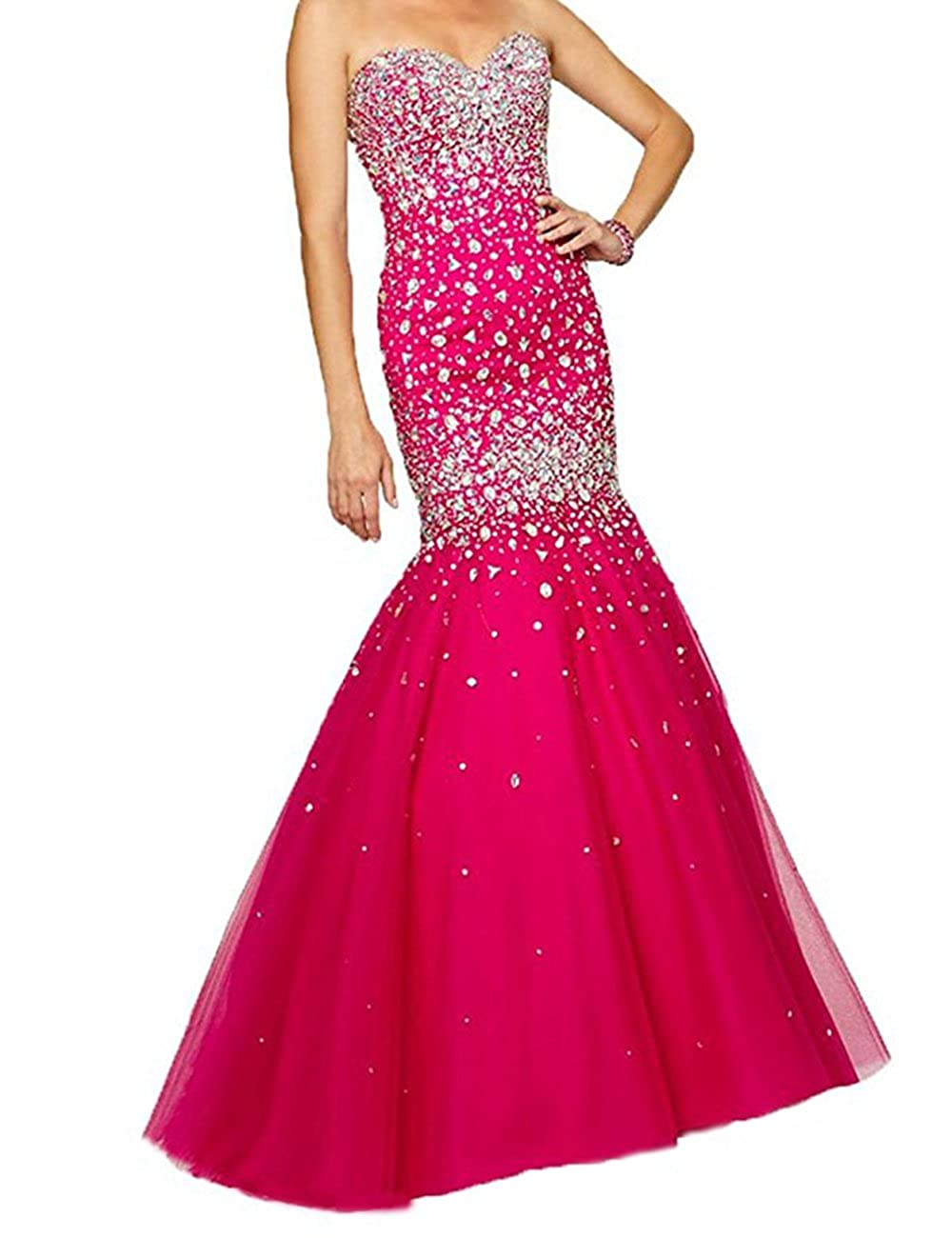 Hot Pink 2 Beautydress Luxury Beaded Lace Up Sweetheart Mermaid Prom Dresses for Women BP116