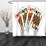 HAIXIA Shower Curtain Queen Queens Poker Set Faces Hearts and Spades Gambling Theme Symbols Playing Cards Black Red Yellow