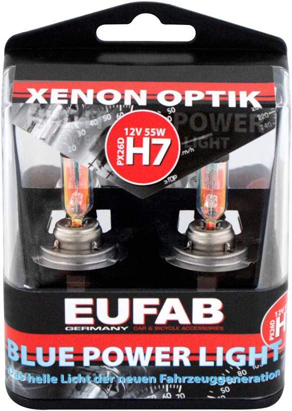 EUFAB 13127 Lot dampoules Blue Power Light 12 V//55 W H7 PX26D