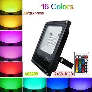 W-star Lámpara RGB LED con Mando a Distancia 16 Colores con el Enchufe y 4 Modos de Luces de proyector 48-144PCS LED, IP65 a Prueba de Agua de luz LED atmósfera Reflector (