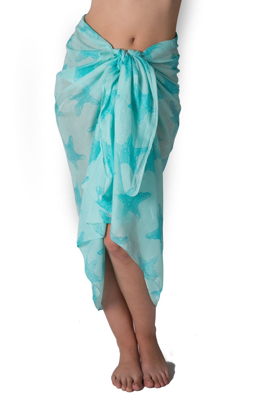 West Indies レディース 純綿100% サロン パレオ 水着カバーアップ ビーチ クルージング リゾート 南の島のファッション B00HCZT4LW ワンサイズ|ヒトデ、アクア ヒトデ、アクア ワンサイズ