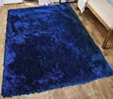 Shag Shaggy Fluffy Fuzzy Furry Modern Contemporary Designer Decorative Solid Plush Navy Blue Dark Blue Two Tone Color 5×7 Living Room Bedroom Area Rug Carpet Sale Cheap Discount ( Romance Navy Blue ) For Sale