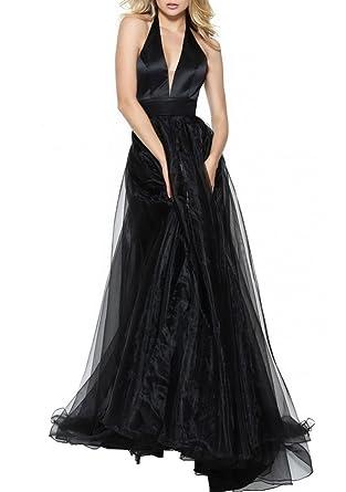 YORFORMALS Womens Deep V-Neck Organza Long Formal Evening Gown Halter Prom Dress Side Slit