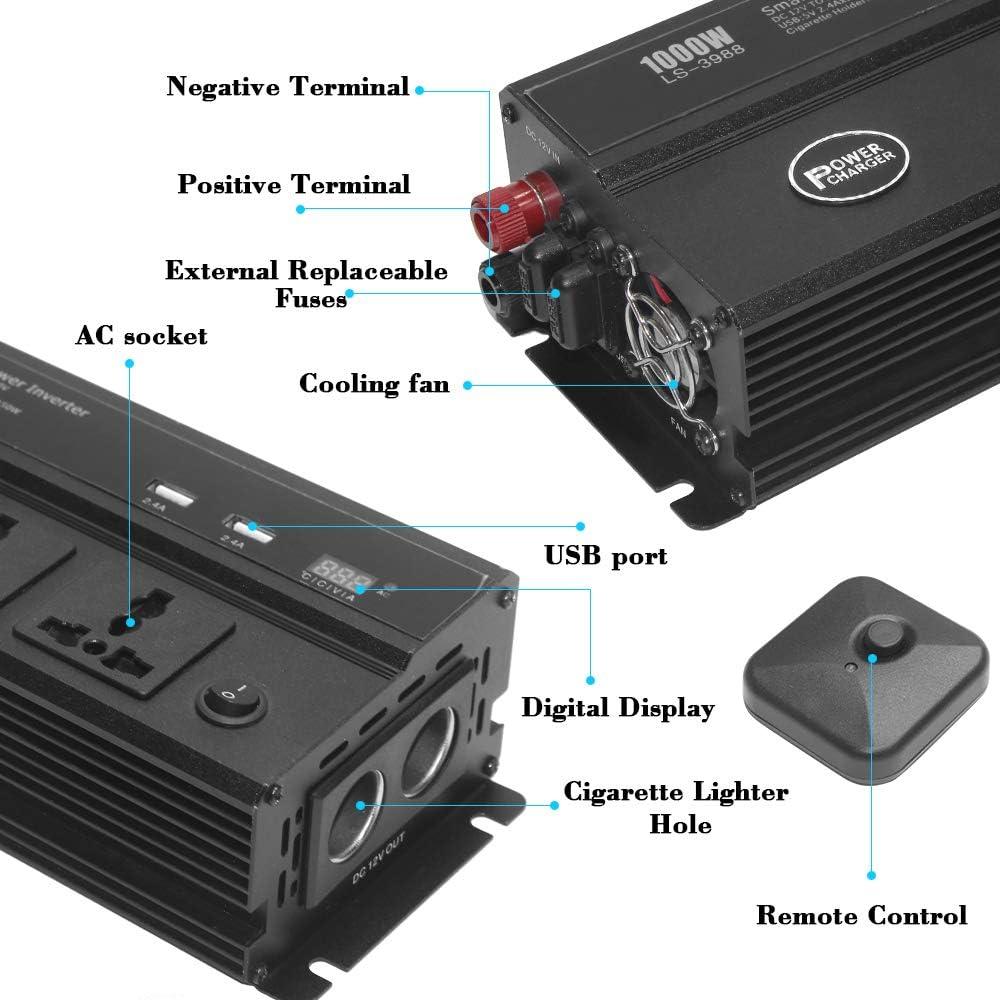 OPPULITE Wechselrichter 1000W Spannungswandler DC 12V auf AC 240V Auto Inverter Konverter Umwandler mit 2 EU Steckdose und USB-Port Direktanschluss an Autobatterie Zigarettenanz/ünder Stecker