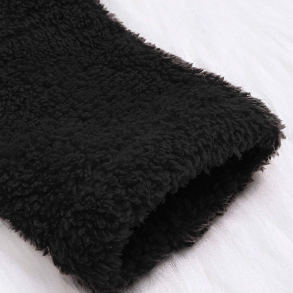Button Fuzzy Fleece Coat for Women Warm Winter Faux Fur Hooded Cat Ear Pocket Sweatshirt Pullover