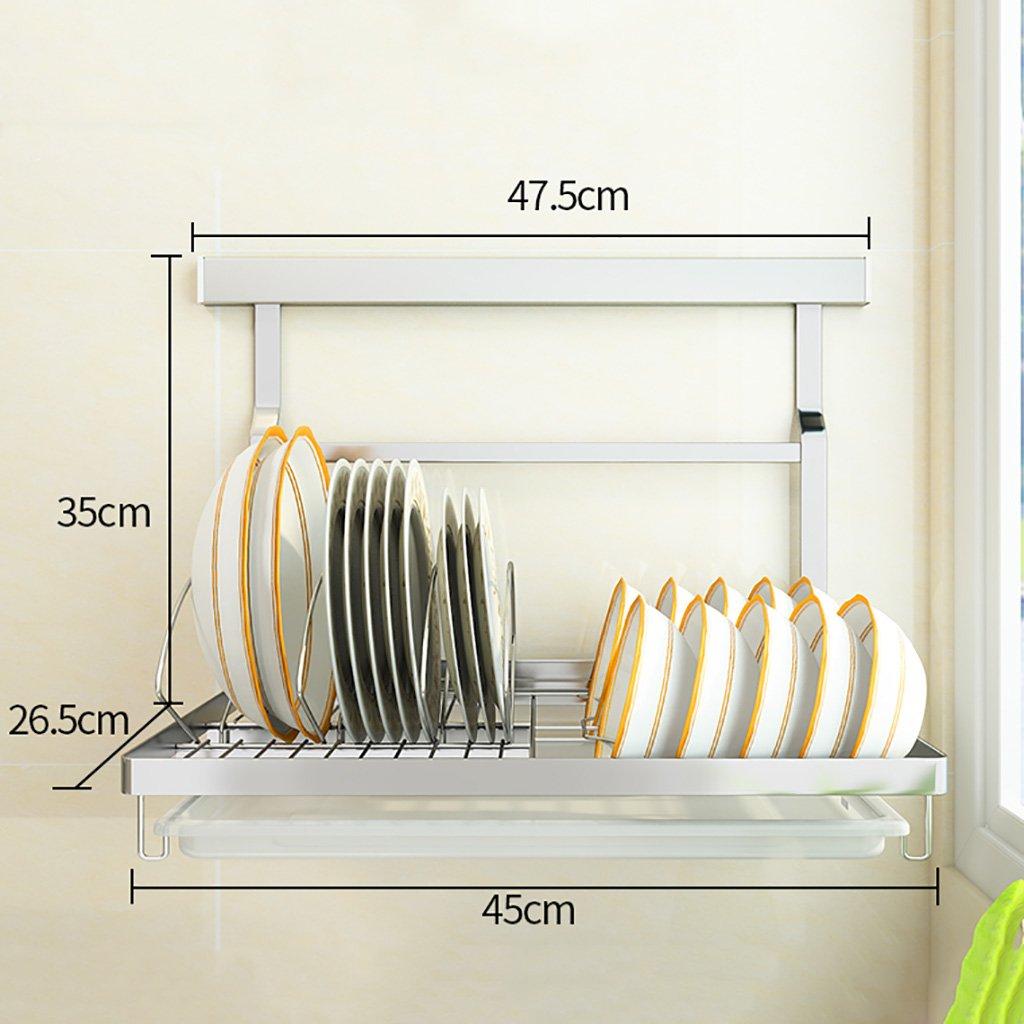 F RFJJAL No Drilling 304 Stainless Steel Kitchen Racks Wall Hanging Storage Organize Shelf (Size   F)